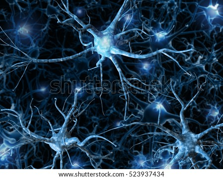 Neural network on a dark blue background with light effects. 3D rendering. A high resolution.