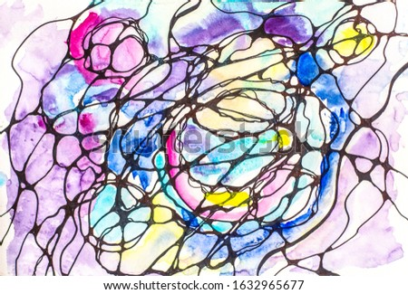 Neurography is a beautiful technique for achieving desires.Horizontal graphic work is painted with watercolors. Stock photo ©