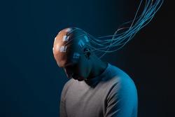 Neurointerface, brain - computer communication. Cyberpunk concept