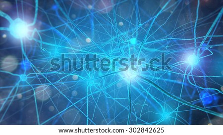 Neurons and nervous system. 3d render of nerve cells