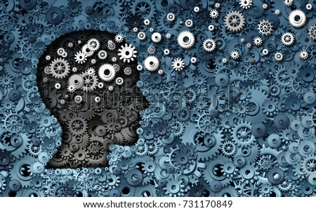 Neuroscience development and training concept as a group of cog wheels and gears shaped as human head with information transfer as a technology brain symbol or psychology exchange as a 3D render.