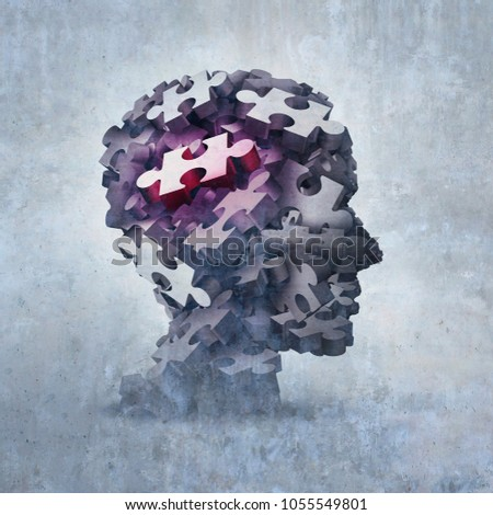 Neurosis mental disorder concept representing obsessive behavior psychiatric and psychology symbol as a 3D illustration.