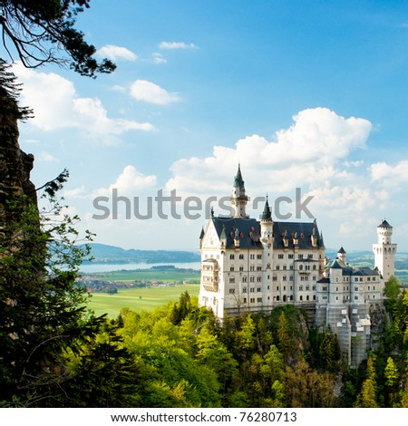 Neuschwanstein Castle, Bavaria, Germany. Wide view.