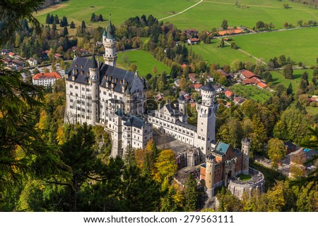Neuschwanstein castle in a summer day in Germany