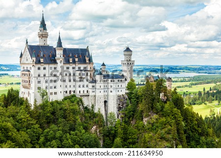 Neuschwanstein castle in Bavarian alps Germany