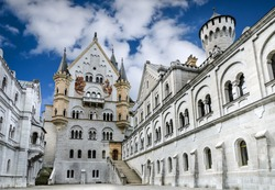 Neuschwanstein Castle. Nineteenth-century Romanesque Revival palace in southwest Bavaria, Germany.