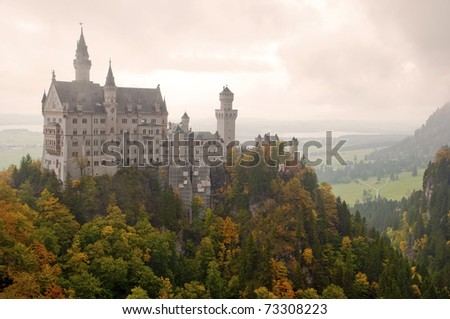 Neuschwanstein castle on cloudy day at Fussen - Germany