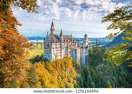 Neuschwanstein castle, romantic summer landscape panorama picture of the fairy tale castle near Munich in Bavaria, Germany
