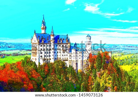 Neuschwanstein castle with surrounding autumn foliage, painting effect.