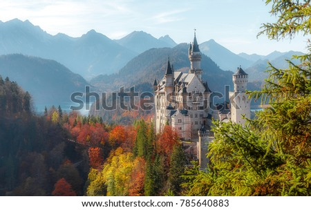 Neuschwanstein Castleon on Sunset with Mountain Hills on Background and colorful leafes, Amazing autumn Landscape. Picture of the fairy tale Castle near Munich in Bavaria, Germany. Postcard