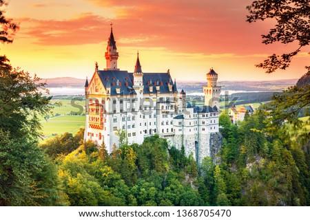 Neuschwanstein, summer landscape panorama picture of the fairy tale castle near Munich in Bavaria, Germany