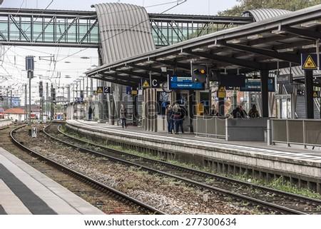 NEUSTADT, GERMANY - APRIL 20, 2015: View of railroad platform in Neustadt station. Neustadt-an-der-Weinstrasse - town in Rheinland-Pfalz, heart of German Wine Road (Deutsche Weinstrasse).