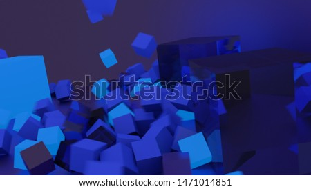 Neutral 3D background image. Dark 3D visualization. Blue cubes rendered. Reflection. Three Dimentions. Basic. Falling objects. Bouncing objects.