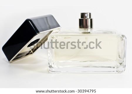 Neutral perfume bottle. - stock photo