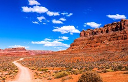 Nevada red rock canyon road in National Conservation Area wilderness panorama