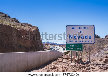nevada sign at the road in...