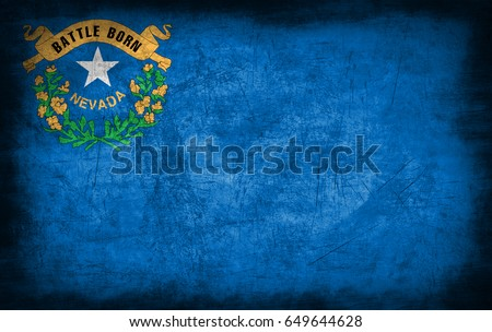 Nevada State flag, USA, with grunge metal texture