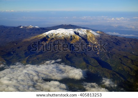 Shutterstock Nevado del Ruiz volcano in Colombia seen from above, wonderful park of snow capped peaks in constant activity.