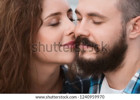Never let me go. Affectionate woman bonding to husband with delight #1240959970