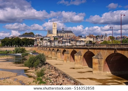 Nevers in Burgundy, cathedral and river Loire, France Zdjęcia stock ©