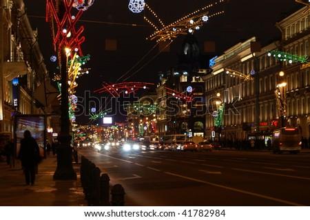 Nevsky Prospect - the main street of Saint Petersburg, Russia