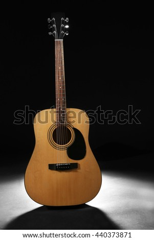 New Acoustic Guitar On Dark Background Ez Canvas