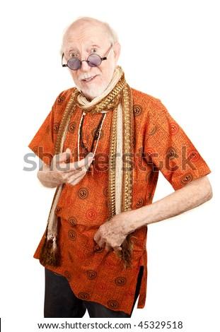 New age senior man in orange shirt