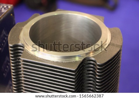 New air cooled car cylinder with honing scratches close up, motor engine repair Stockfoto ©
