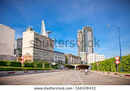 New and modern buildings and roads in Ho Chi Minh City shows the dynamic progress of the Vietnamese culture and technology