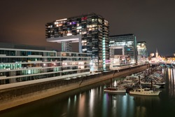 New and modern Kranhaus buildings in Cologne.