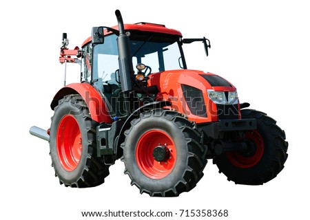 New and modern red agricultural generic tractor isolated on white background  #715358368