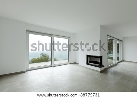 new apartment, living room large - stock photo