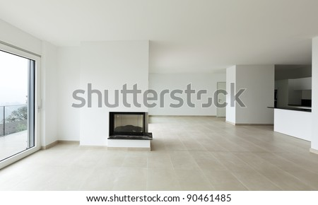 new apartment, living room, view fireplace