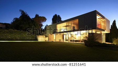 New architecture, beautiful modern house outdoors at night #81251641