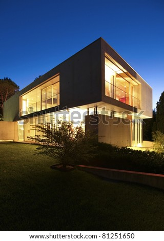New rchitecture, Beautiful Modern House Outdoors t Night Stock ... - ^