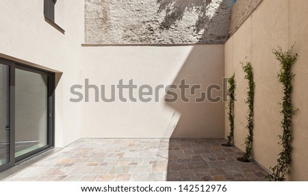 New architecture, modern house, view from outside, veranda