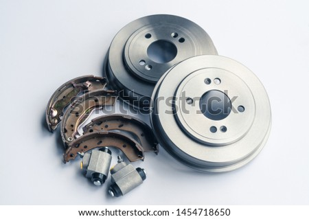 New auto parts brake drums, pads, cylinders on white background #1454718650
