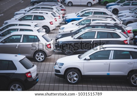 New automobiles background, car in row for export #1031515789