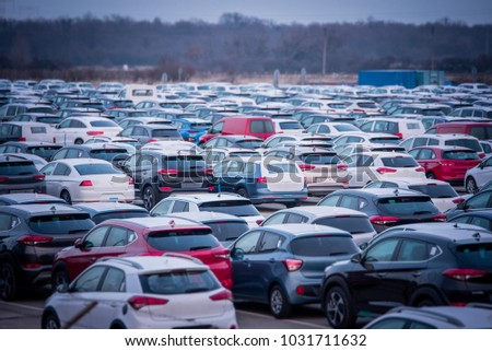 New automobiles background, car in row for export #1031711632