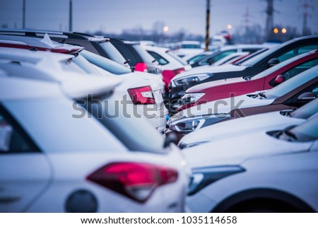 New automobiles background, car in row for export #1035114658