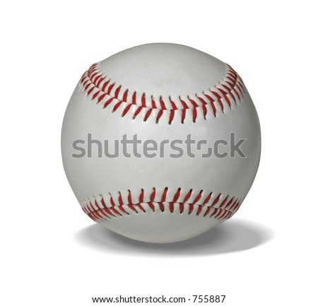 New baseball isolated on white with clipping path for easy masking