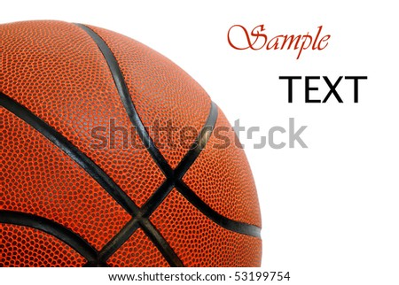 New basketball on white background with copy space.