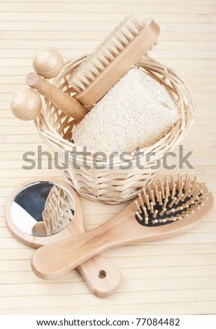 new bath accessories on a wodden background