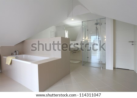 New bathroom in modern style on the attic