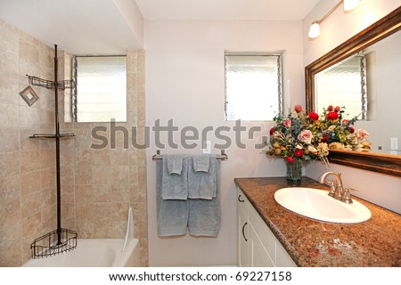 New Bathroom With Granite And White Cabinets Stock Photo 69227158