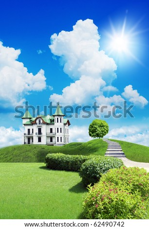 New beautiful house, summer cottage on a  grassland under sky with clouds