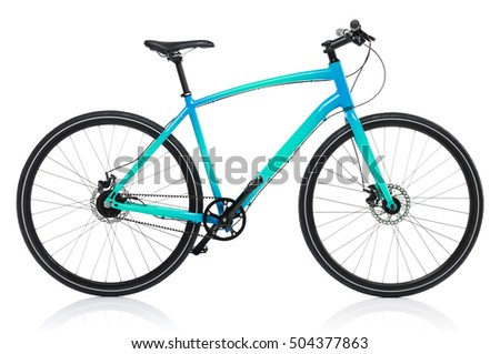 New blue bicycle isolated on a white background #504377863