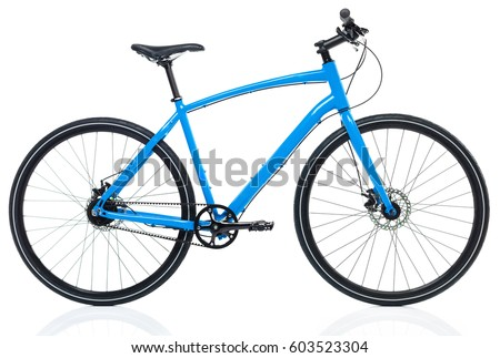 New blue bicycle isolated on a white background #603523304