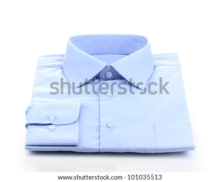 New blue man's shirt isolated on white