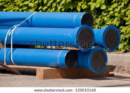 New blue pipes for water supply